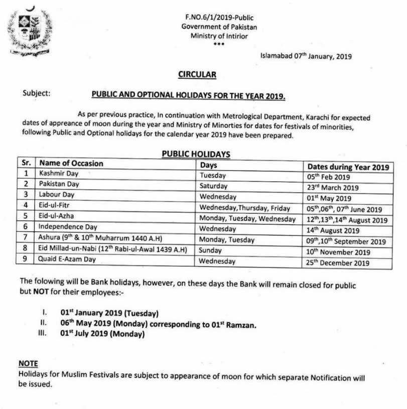 Public and Optional Holidays for 2019